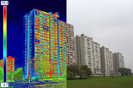 energy consumption: Infrared and real image showing lack of thermal insulation on Residential building Stock Photo