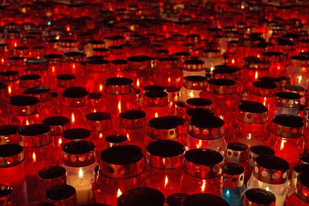 all saints  day: A lot of Candles Burning At a Cemetery During All Saints Day