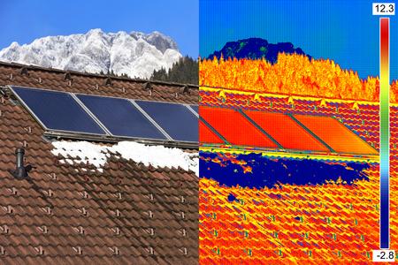赤外線と実際画像太陽光発電ソーラー パネルの家の屋根の上