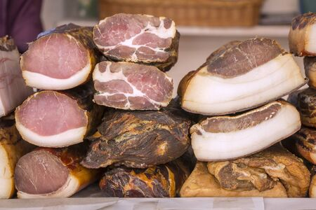specialty: Smoked Bacon Preserved Pork Meat  in a street market Stock Photo
