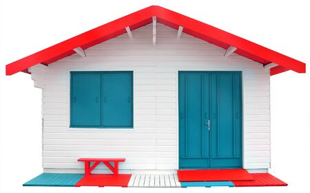 prefabricated: Wooden prefabricated house isolated on white background with Clipping Path