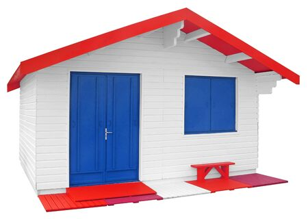prefabricated house: White Wooden prefabricated house isolated on white background with Clipping Path