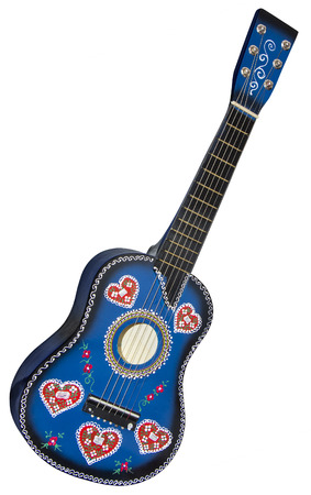 souvenir: Blue guitar-toy painted with traditional Croatian decorations isolated on white background with Clipping Path