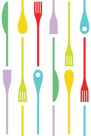 red kitchen: Cutlery and cooking icons Vector seamless pattern background