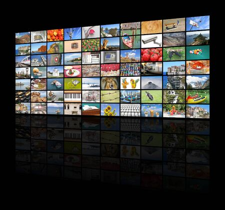 big screen tv: A variety of images as a big video wall of the TV screen