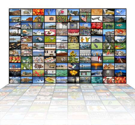 discovery channel: A variety of images as a big video wall of the TV screen
