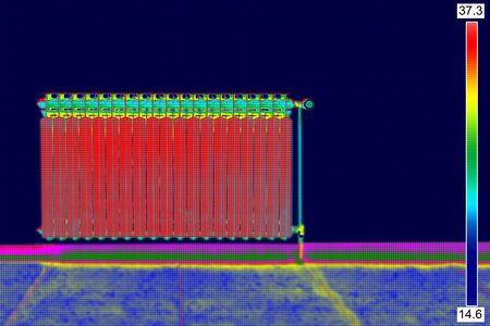 thermogram: Infrared Thermal Image of Radiator Heater in house