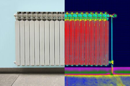 heat radiation: Infrared Thermal and real Image of Radiator Heater in house