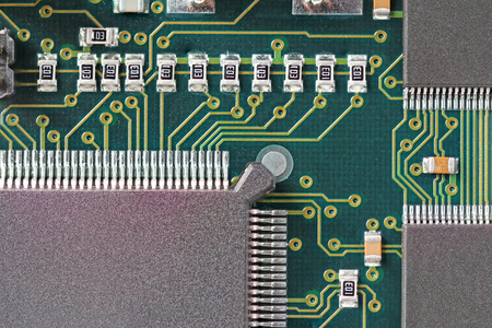 microprocessors: Green Circuit board with microprocessor and other electronic components
