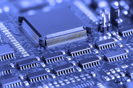 printed: Blue Electronic Circuit board with microprocessor