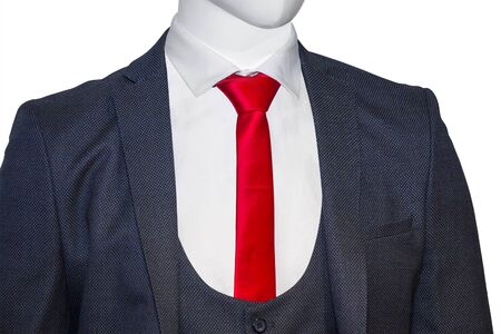 red dress: Elegant blue man suit with red tie, isolated on a white background Stock Photo