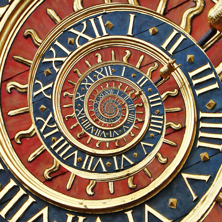 winder: Old gold clock in Ruan as droste effect Stock Photo