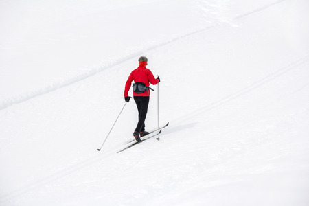 crosscountry: Cross-country skiing in nature park Fanes Senes Braies, Dolomites, Italy