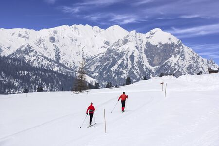 nordic ski: Cross-country skiing in nature park Fanes Senes Braies, Dolomites, Italy