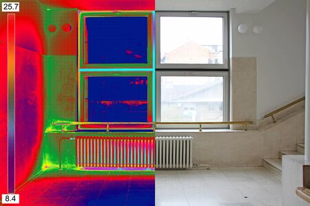 heat home: Infrared Thermal and real Image of Radiator Heater and a window on a building Stock Photo
