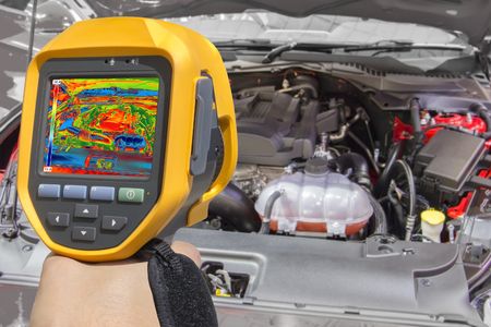 thermogram: Recording Car Engine With Thermal Camera Stock Photo