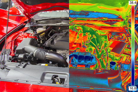 thermogram: Thermal and real Image of Car Engine