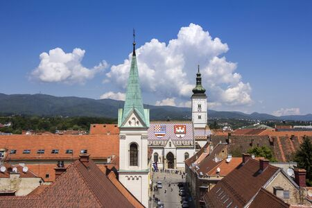 saint stephen cathedral: Church of St Mark, famous building monuments in Zagreb, Croatia