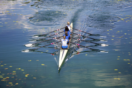 sculling: Four women rowing on the tranquil lake Stock Photo