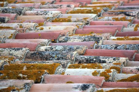 mediterranean house: Old roof tiles on the roof of an mediterranean house