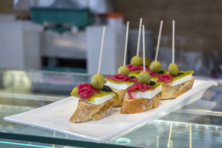 toothpick: Pintxos or tapas famous spanish canapes party finger food