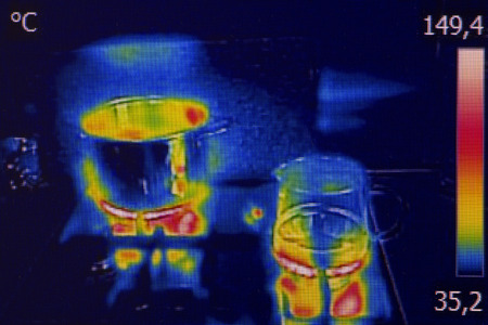 ir: Infrared thermovision image showing cooking on a gas stove