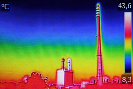 heat radiation: Infrared thermography image showing the heat emission at the Chimney of energy station
