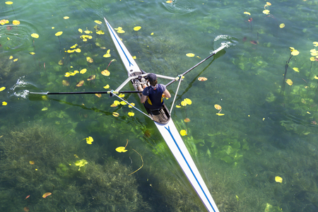 sculling: A Young single scull rowing competitor paddles on the tranquil lake
