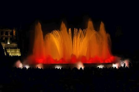 nightime: Night view famous Montjuic Fountain in Barcelona Spain