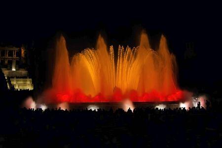 montjuic: Night view famous Montjuic Fountain in Barcelona Spain
