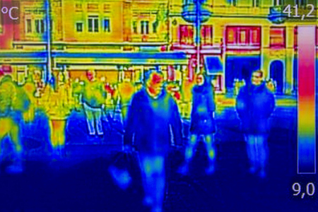 thermal image: Infrared Thermal image people walking the city streets