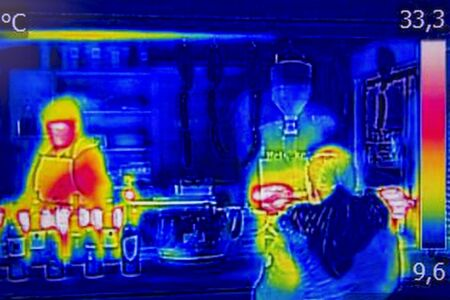 thermal image: Infrared Thermal image street stand selling food