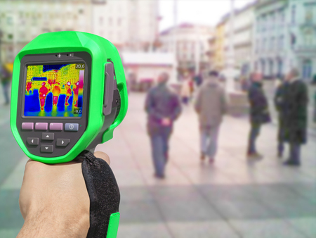 thermography: Recording with Thermal camera people walking the city streets