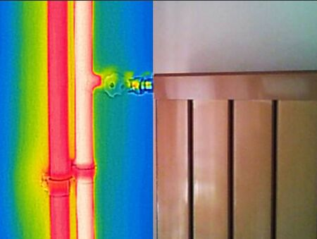 warmness: Infrared Thermal and real Image of Radiator Heater in house
