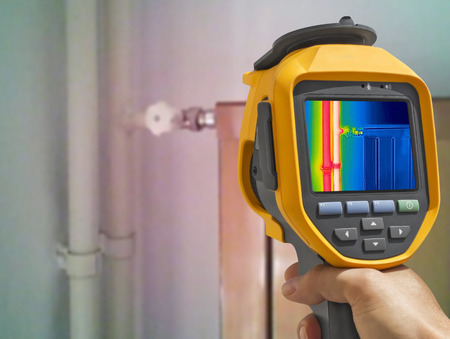 Recording closed Radiator Heater with Infrared Thermal Camera  Stock Photo