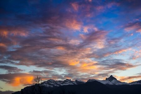 shaddow: Sunset in Dolomites, mountains around Famous ski resort Cortina D Ampezzo