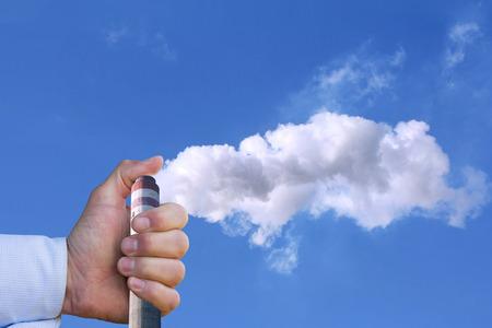 環境汚染に手を停止を持つ男 写真素材