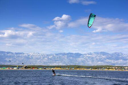 kiteboarding: Kiteboarding Kitesurfing Extreme Sport in Nin, Croatia Stock Photo