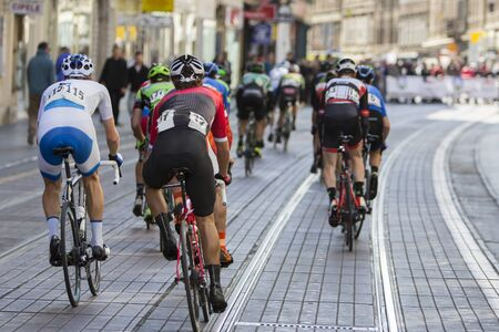 Group of cyclist during the street race  Stock Photo