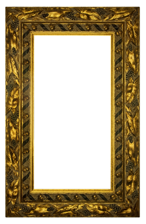 Rectangular Gilded Frame Isolated with Clipping Path on white background  Stock Photo
