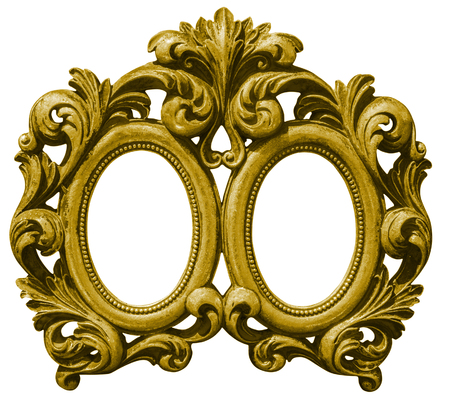Old double gilded wooden Frame Isolated with Clipping Path on white background