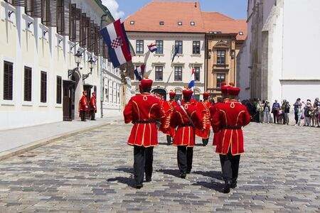 ZAGREB, CROATIA - JUNE 03, 2017: Shift of the Guards Ceremony On the St. Marks Square on June 03, 2017 in Zagreb.
