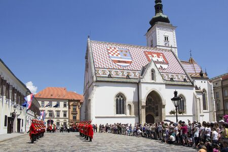 regiment: ZAGREB, CROATIA - JUNE 03, 2017: Shift of the Guards Ceremony On the St. Marks Square on June 03, 2017 in Zagreb.