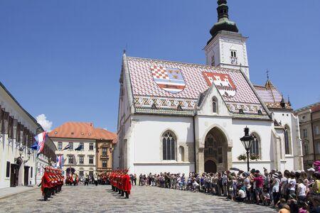 zagreb: ZAGREB, CROATIA - JUNE 03, 2017: Shift of the Guards Ceremony On the St. Marks Square on June 03, 2017 in Zagreb.