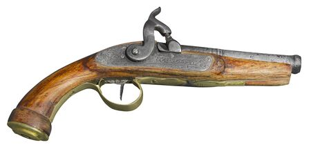 flint gun: Vintage antique flintlock pistol isolated on white background Stock Photo