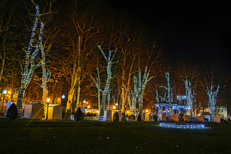 Zrinjevac park decorated by Christmas lights as part of Advent in Zagreb Stock Photo - 91456736