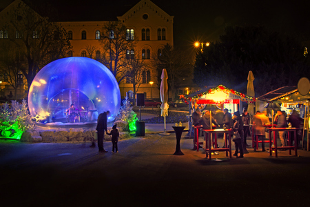 Christmas snow globe in which the music player as part of Advent in Zagreb Stock Photo