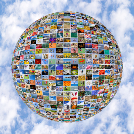 Big Multimedia Video Wall Sphere at tv screens showing living in the world Stock Photo