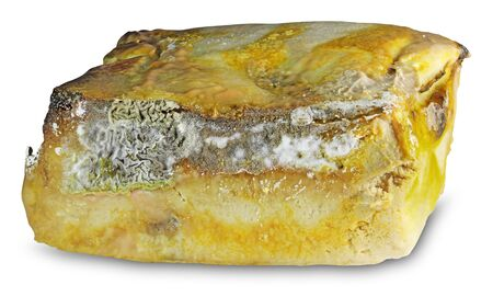 Spoiled Moldy cheese isolated on white background