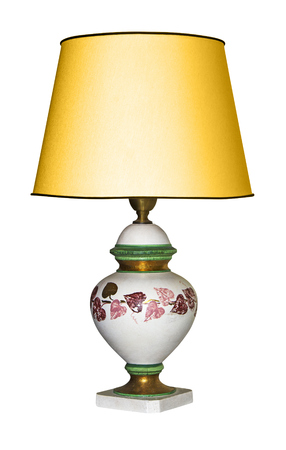Vintage table lamp isolated with clipping path on white background Banque d'images